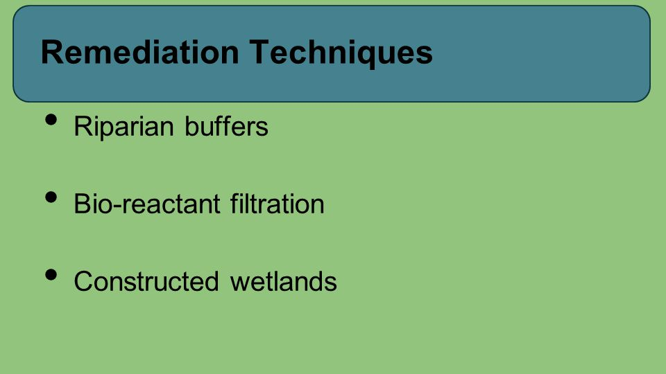 Remediation Techniques Riparian buffers Bio-reactant filtration Constructed wetlands