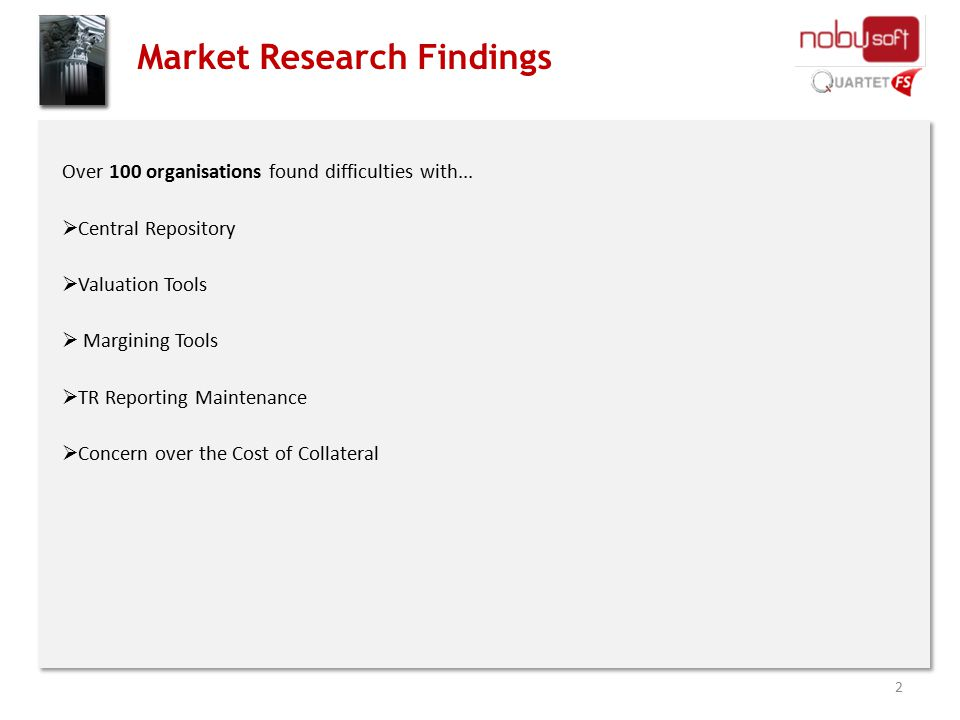 Market Research Findings Over 100 organisations found difficulties with...  Central Repository  Valuation Tools  Margining Tools  TR Reporting Mai