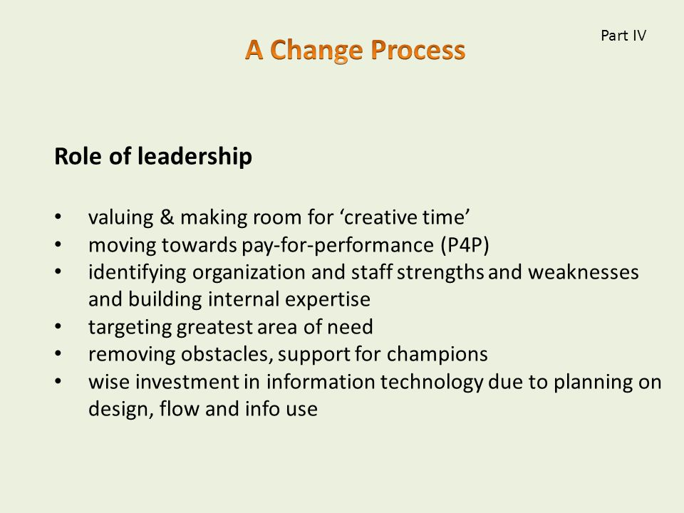 Role of leadership valuing & making room for 'creative time' moving towards pay-for-performance (P4P) identifying organization and staff strengths and