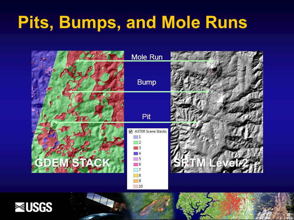 Mole Run Bump Pit SRTM Level-2 GDEM STACK