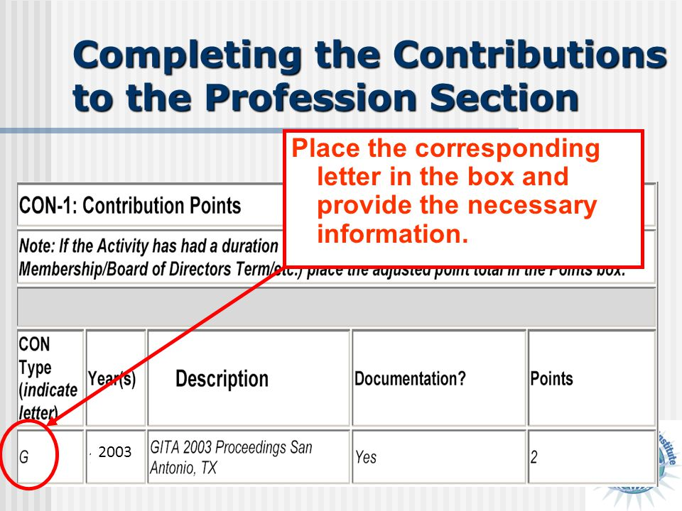 Completing the Contributions to the Profession Section Place the corresponding letter in the box and provide the necessary information. 2003