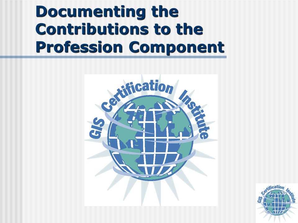 Documenting the Contributions to the Profession Component
