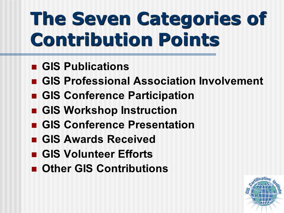 The Seven Categories of Contribution Points GIS Publications GIS Professional Association Involvement GIS Conference Participation GIS Workshop Instru