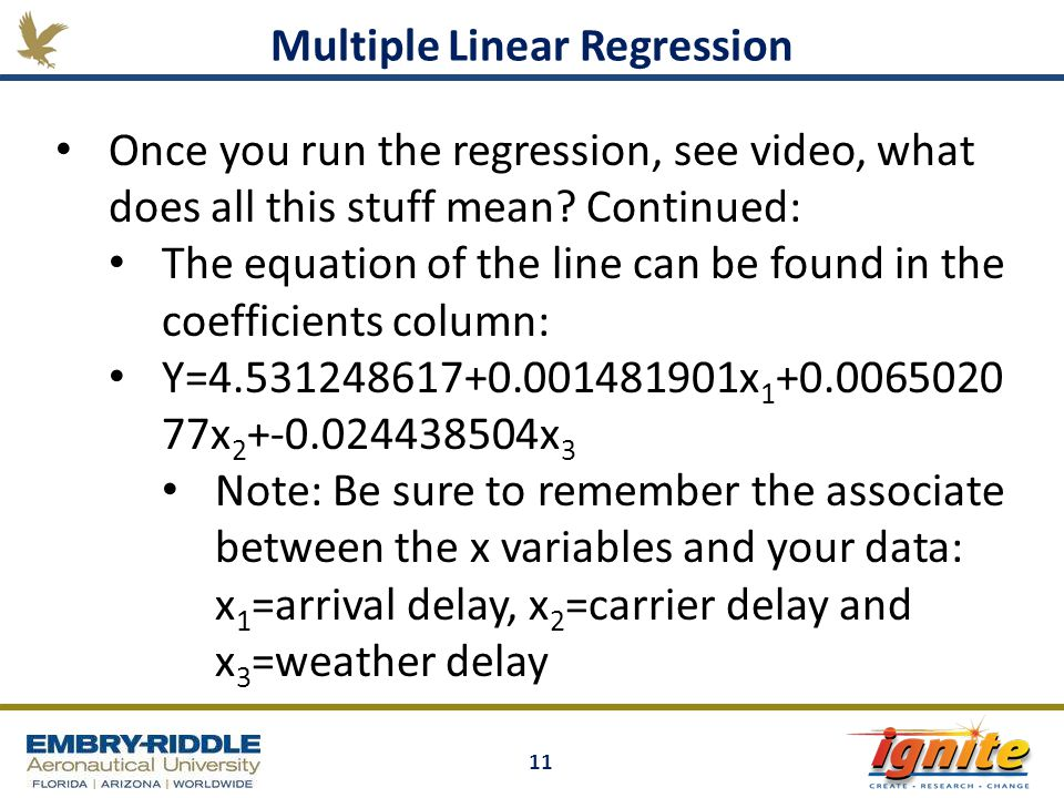 11 Multiple Linear Regression Once you run the regression, see video, what does all this stuff mean.
