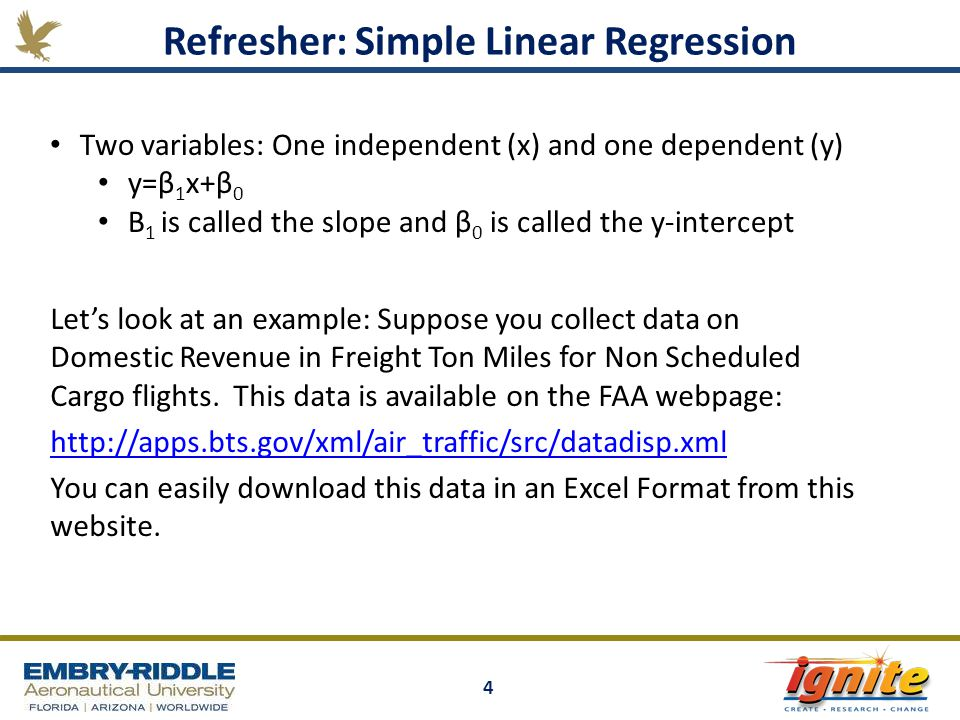 4 Let's look at an example: Suppose you collect data on Domestic Revenue in Freight Ton Miles for Non Scheduled Cargo flights. This data is available