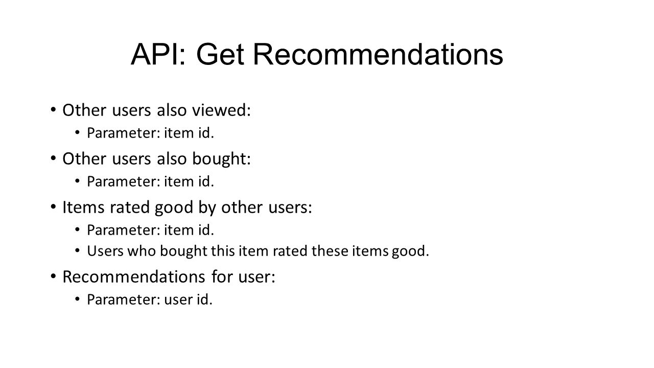 API: Get Recommendations Other users also viewed: Parameter: item id.