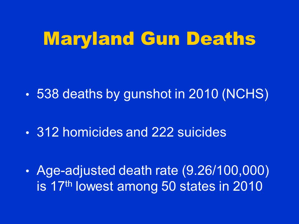 Maryland Gun Deaths 538 deaths by gunshot in 2010 (NCHS) 312 homicides and 222 suicides Age-adjusted death rate (9.26/100,000) is 17 th lowest among 50 states in 2010