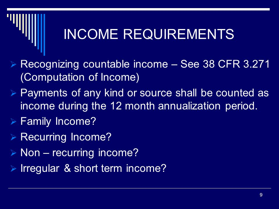 EXCLUSIONS FROM INCOME 38 CFR 3.272 M21-1 PART IV, 16.41  Welfare  Maintenance  Sale of Property  Medical Expenses  Education Expenses  Funeral Expenses 10