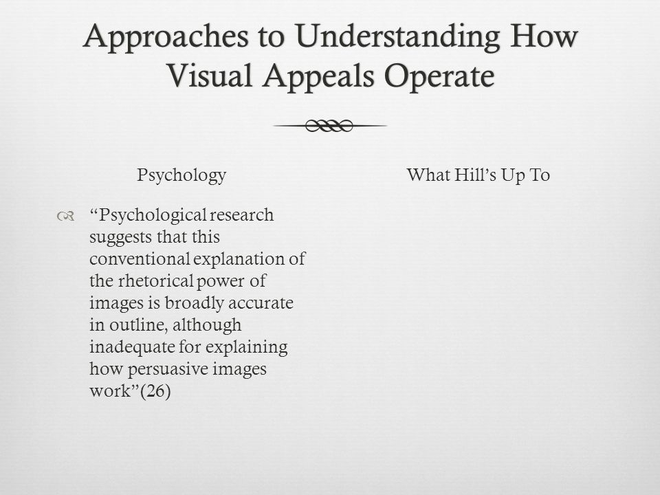 Approaches to Understanding How Visual Appeals Operate Psychology  Psychological research suggests that this conventional explanation of the rhetorical power of images is broadly accurate in outline, although inadequate for explaining how persuasive images work (26) What Hill's Up To
