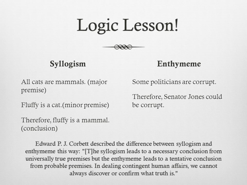 Syllogism All cats are mammals. (major premise) Fluffy is a cat.(minor premise) Therefore, fluffy is a mammal. (conclusion) Enthymeme Some politicians