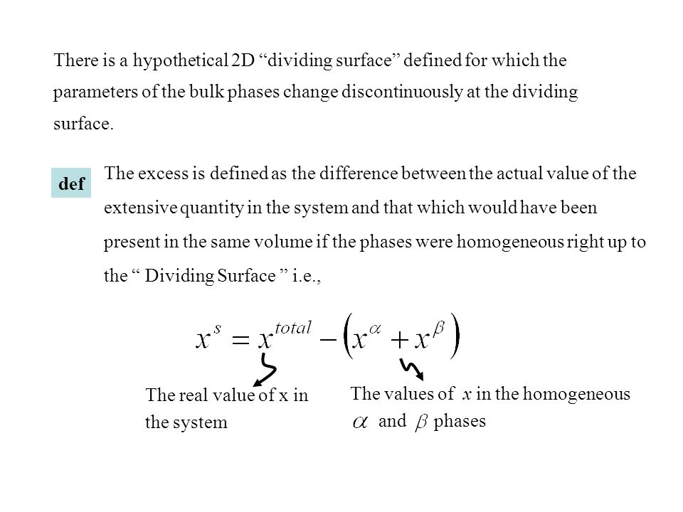 "There is a hypothetical 2D ""dividing surface"" defined for which the parameters of the bulk phases change discontinuously at the dividing surface. def"