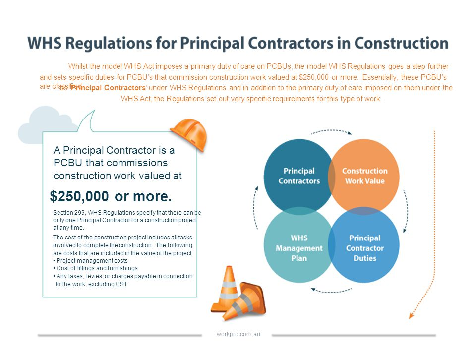 Whilst the model WHS Act imposes a primary duty of care on PCBUs, the model WHS Regulations goes a step further and sets specific duties for PCBU's that commission construction work valued at $250,000 or more.