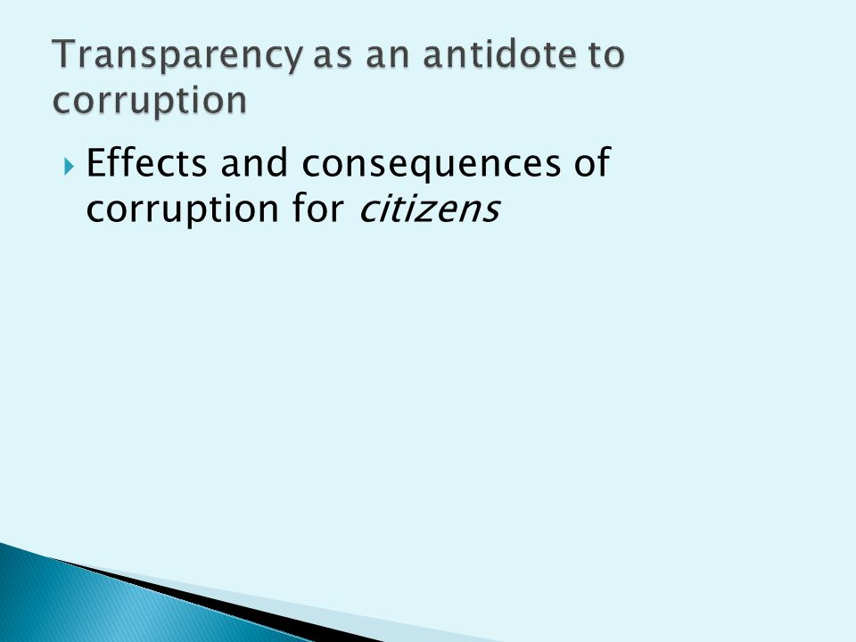  Effects and consequences of corruption for citizens