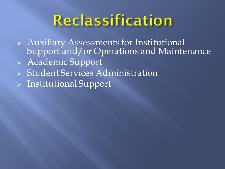 Reclassification  Auxiliary Assessments for Institutional Support and/or Operations and Maintenance  Academic Support  Student Services Administration  Institutional Support