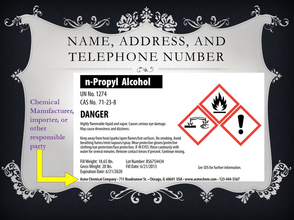 NAME, ADDRESS, AND TELEPHONE NUMBER Chemical Manufacturer, importer, or other responsible party