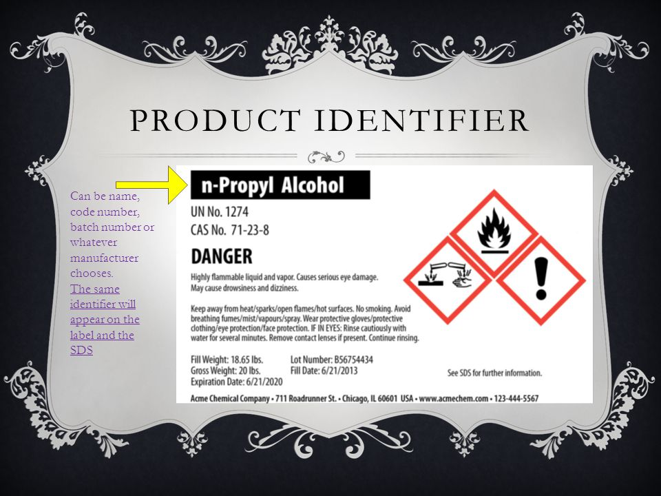 PRODUCT IDENTIFIER Can be name, code number, batch number or whatever manufacturer chooses. The same identifier will appear on the label and the SDS