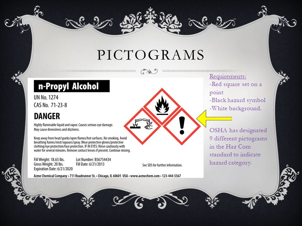 PICTOGRAMS Requirements: -Red square set on a point -Black hazard symbol -White background. OSHA has designated 9 different pictograms in the Haz Com