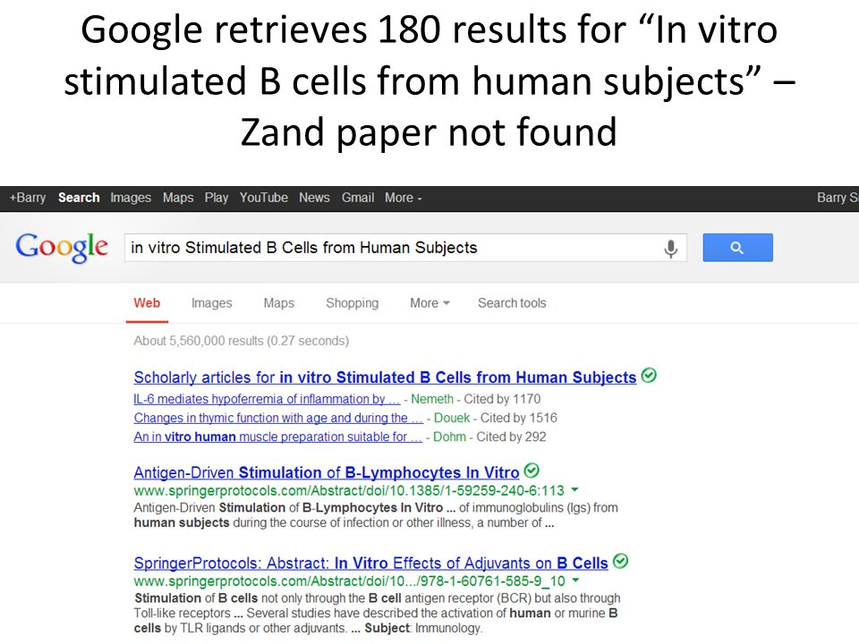 """Google retrieves 180 results for """"In vitro stimulated B cells from human subjects"""" – Zand paper not found"""