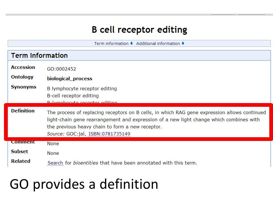 GO definition GO provides a definition