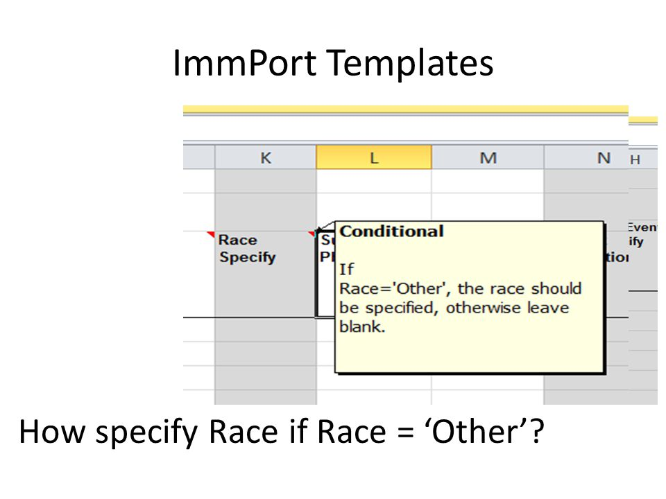 ImmPort Templates How specify Race if Race = 'Other'