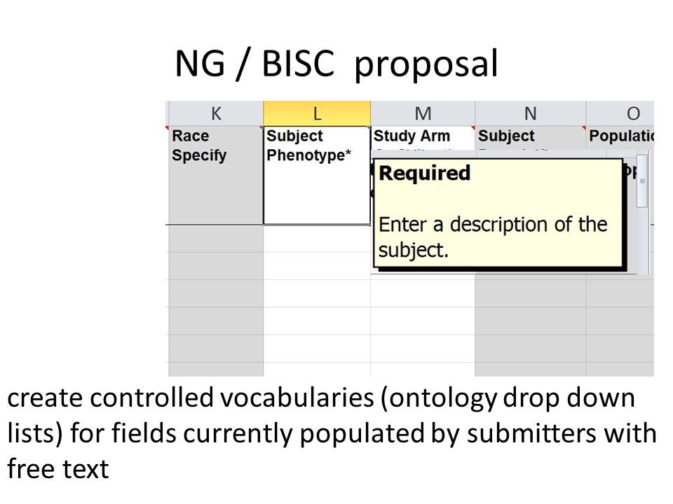 NG / BISC proposal create controlled vocabularies (ontology drop down lists) for fields currently populated by submitters with free text