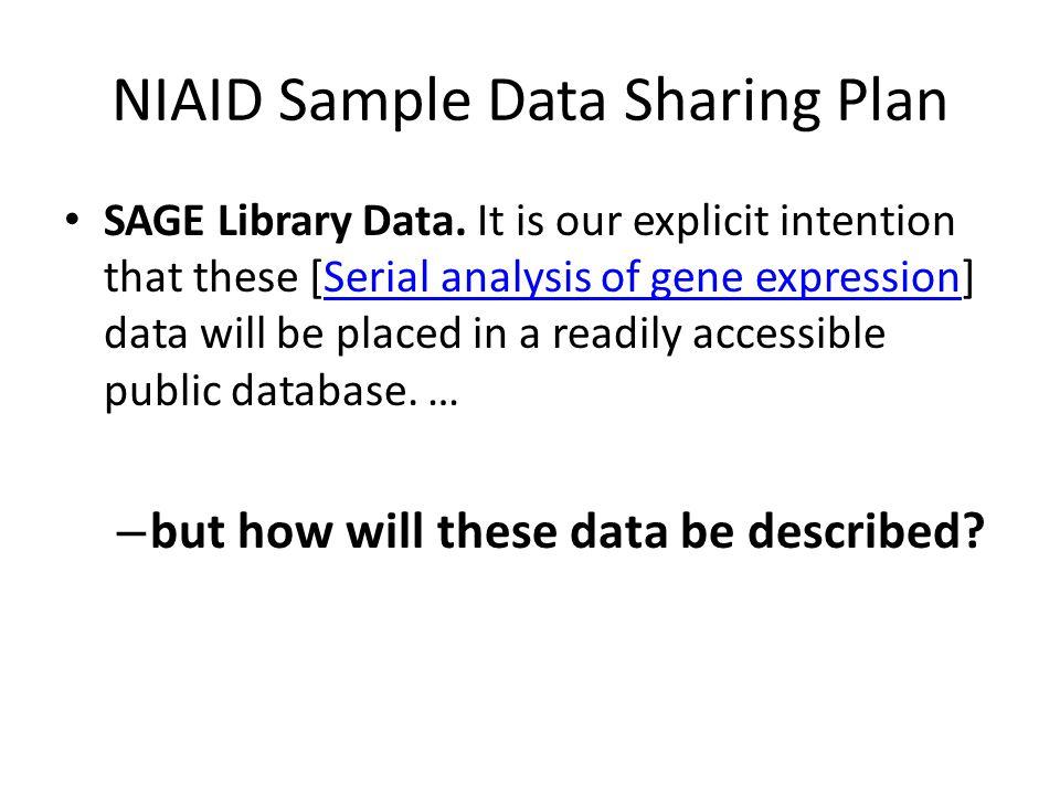 NIAID Sample Data Sharing Plan SAGE Library Data.
