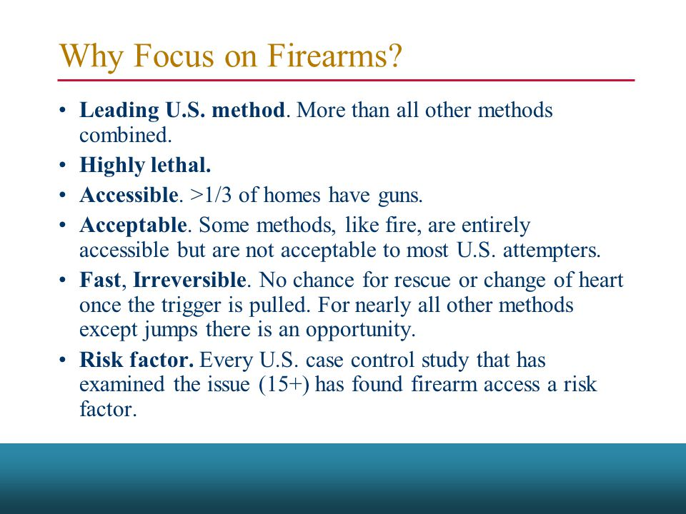 Why Focus on Firearms. Leading U.S. method. More than all other methods combined.