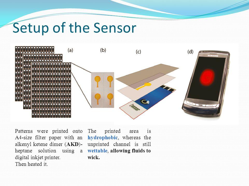 Setup of the Sensor Patterns were printed onto A4-size filter paper with an alkenyl ketene dimer (AKD)- heptane solution using a digital inkjet printer.