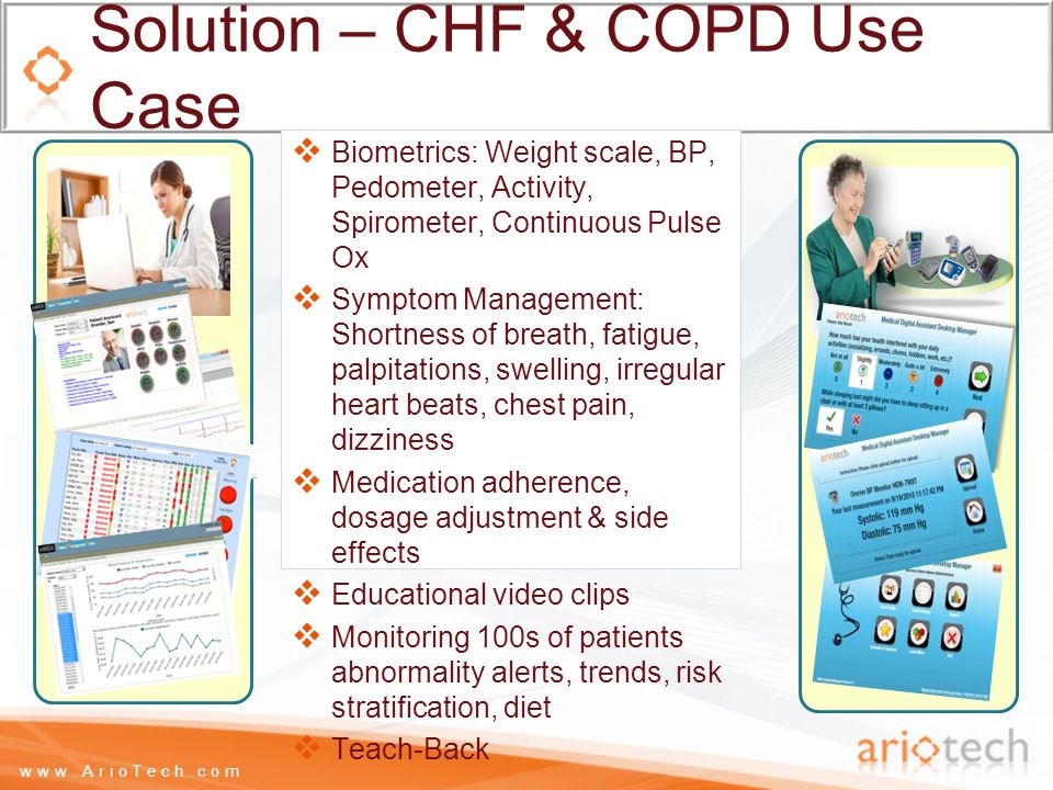 www.ArioTech.com Solution – CHF & COPD Use Case  Biometrics: Weight scale, BP, Pedometer, Activity, Spirometer, Continuous Pulse Ox  Symptom Management: Shortness of breath, fatigue, palpitations, swelling, irregular heart beats, chest pain, dizziness  Medication adherence, dosage adjustment & side effects  Educational video clips  Monitoring 100s of patients abnormality alerts, trends, risk stratification, diet  Teach-Back