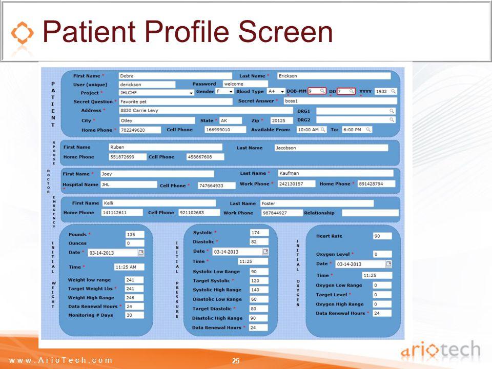 www.ArioTech.com Patient Profile Screen 25