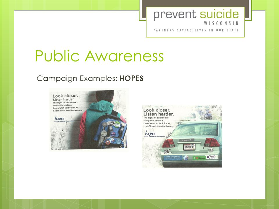 Public Awareness Campaign Examples: HOPES