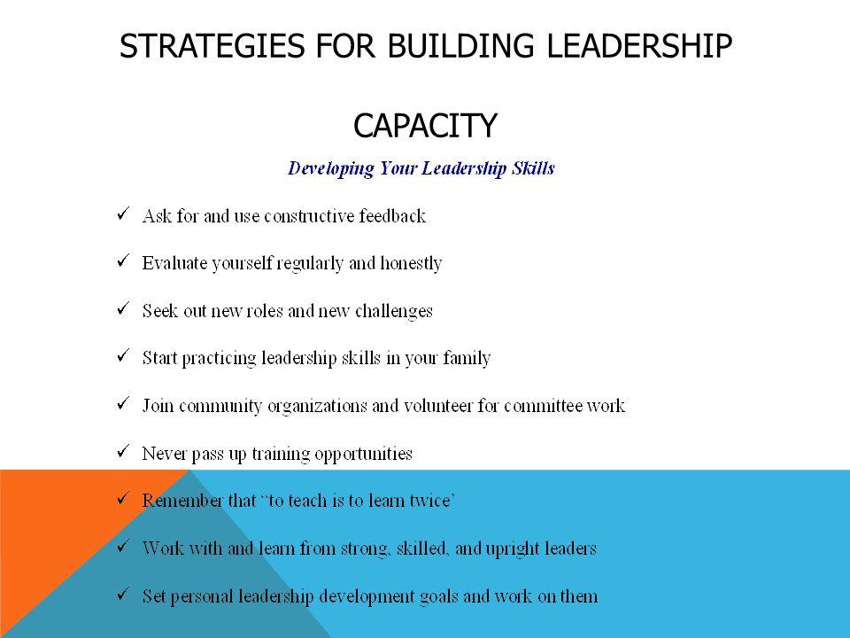 STRATEGIES FOR BUILDING LEADERSHIP CAPACITY