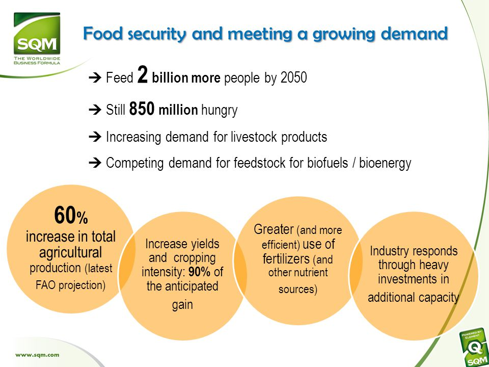 Food security and meeting a growing demand 60 % increase in total agricultural production (latest FAO projection) Increase yields and cropping intensity: 90% of the anticipated gain Greater (and more efficient) use of fertilizers (and other nutrient sources) Industry responds through heavy investments in additional capacity  Feed 2 billion more people by 2050  Still 850 million hungry  Increasing demand for livestock products  Competing demand for feedstock for biofuels / bioenergy