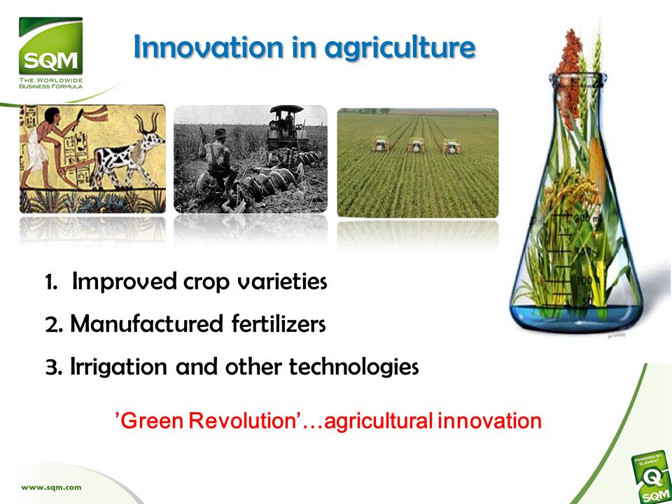 Innovation in agriculture 1. Improved crop varieties 2.