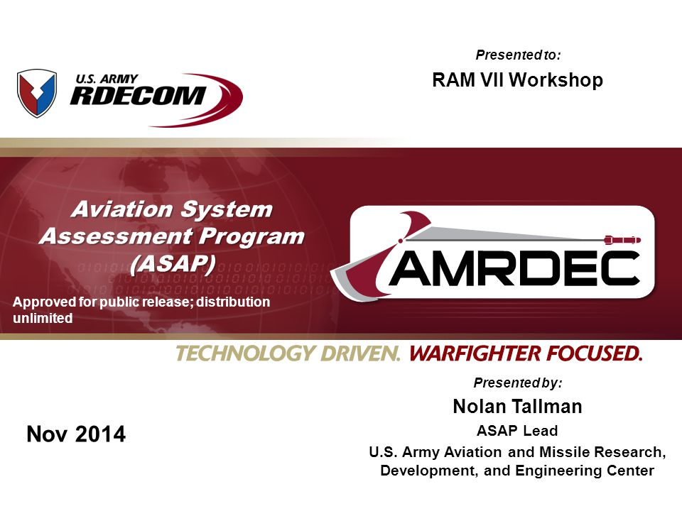 Nov 2014 Aviation System Assessment Program (ASAP) Presented by: Nolan Tallman ASAP Lead U.S. Army Aviation and Missile Research, Development, and Eng