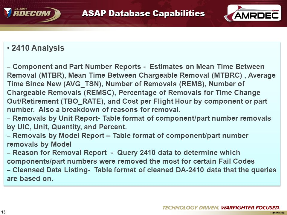 13 FileName.pptx ASAP Database Capabilities 2410 Analysis – Component and Part Number Reports - Estimates on Mean Time Between Removal (MTBR), Mean Ti
