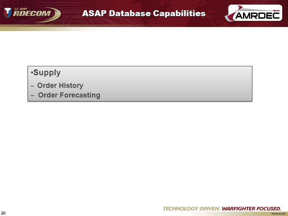 20 FileName.pptx ASAP Database Capabilities Supply – Order History – Order Forecasting Supply – Order History – Order Forecasting