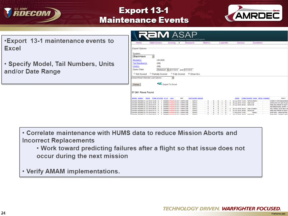 24 FileName.pptx Export 13-1 Maintenance Events Export 13-1 maintenance events to Excel Specify Model, Tail Numbers, Units and/or Date Range Export 13