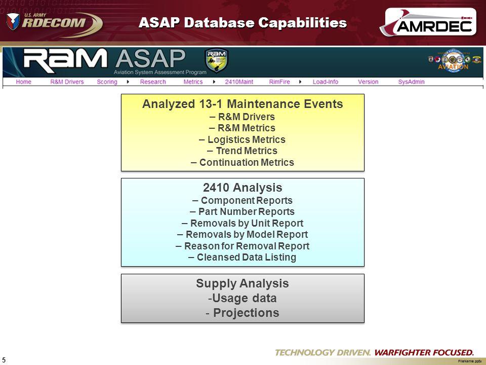5 FileName.pptx ASAP Database Capabilities Analyzed 13-1 Maintenance Events – R&M Drivers – R&M Metrics – Logistics Metrics – Trend Metrics – Continua