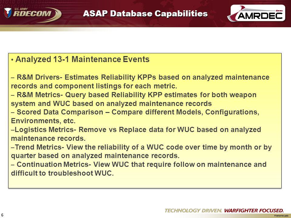 6 FileName.pptx ASAP Database Capabilities Analyzed 13-1 Maintenance Events – R&M Drivers- Estimates Reliability KPPs based on analyzed maintenance re