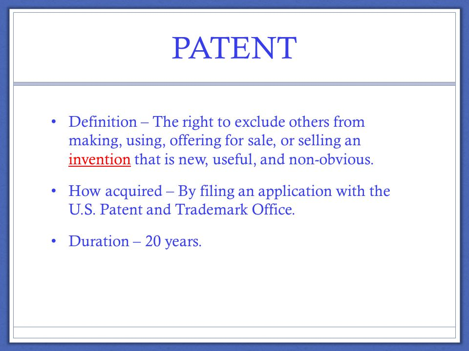 PATENT EXAMPLES