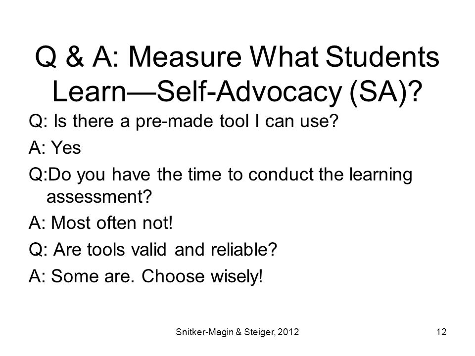 Q & A: Measure What Students Learn—Self-Advocacy (SA).