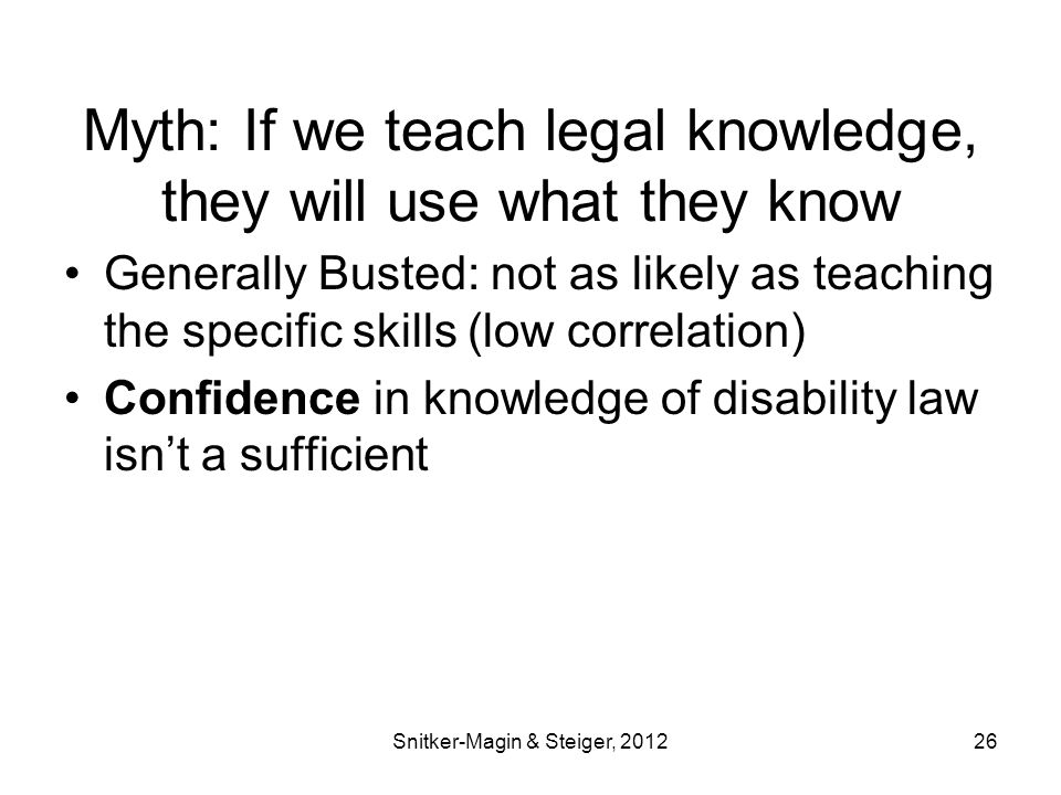 Myth: If we teach legal knowledge, they will use what they know Generally Busted: not as likely as teaching the specific skills (low correlation) Confidence in knowledge of disability law isn't a sufficient Snitker-Magin & Steiger, 201226