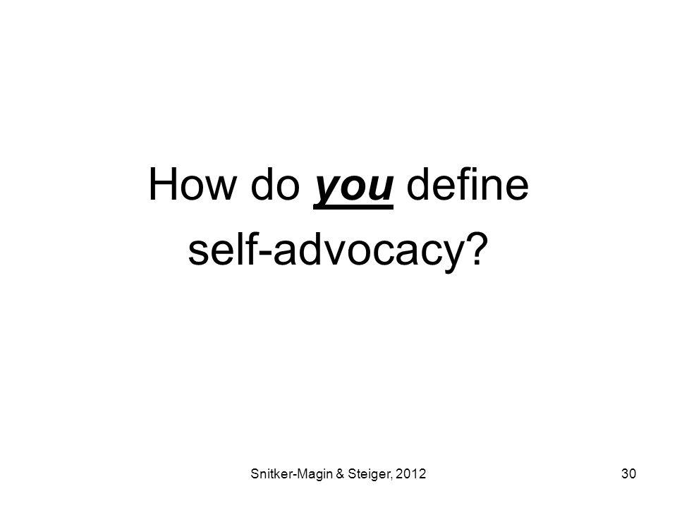 How do you define self-advocacy Snitker-Magin & Steiger, 201230