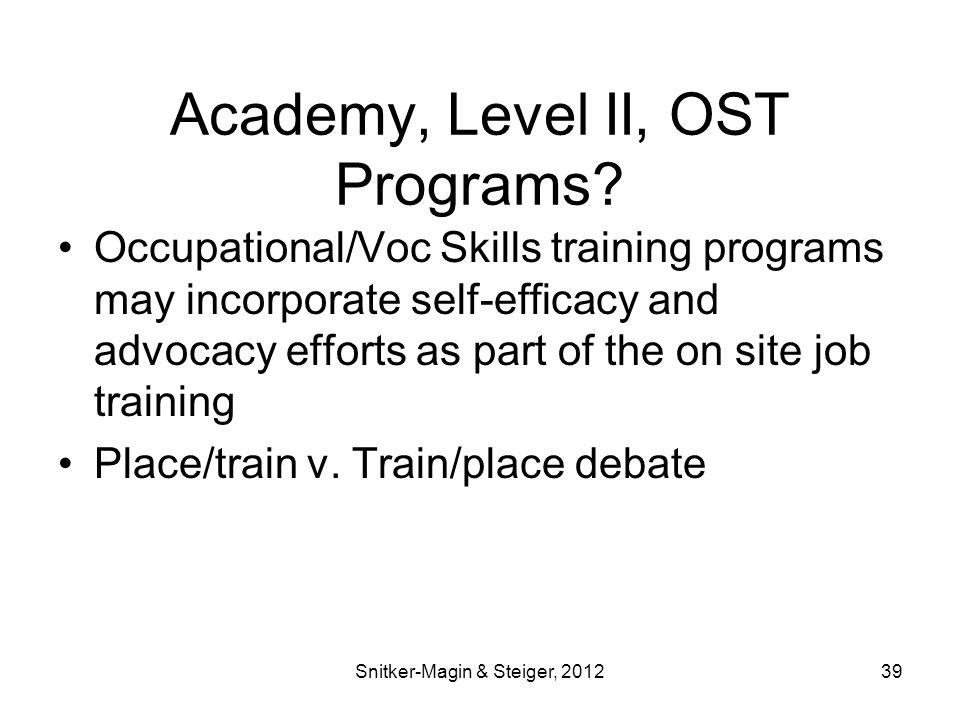 Academy, Level II, OST Programs.