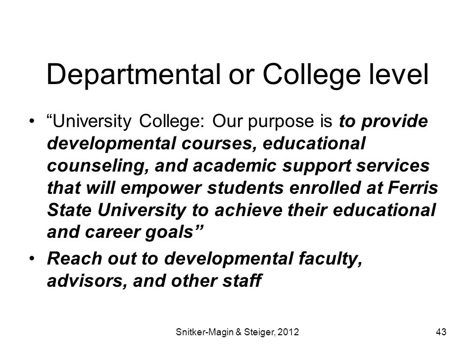 Departmental or College level University College: Our purpose is to provide developmental courses, educational counseling, and academic support services that will empower students enrolled at Ferris State University to achieve their educational and career goals Reach out to developmental faculty, advisors, and other staff Snitker-Magin & Steiger, 201243
