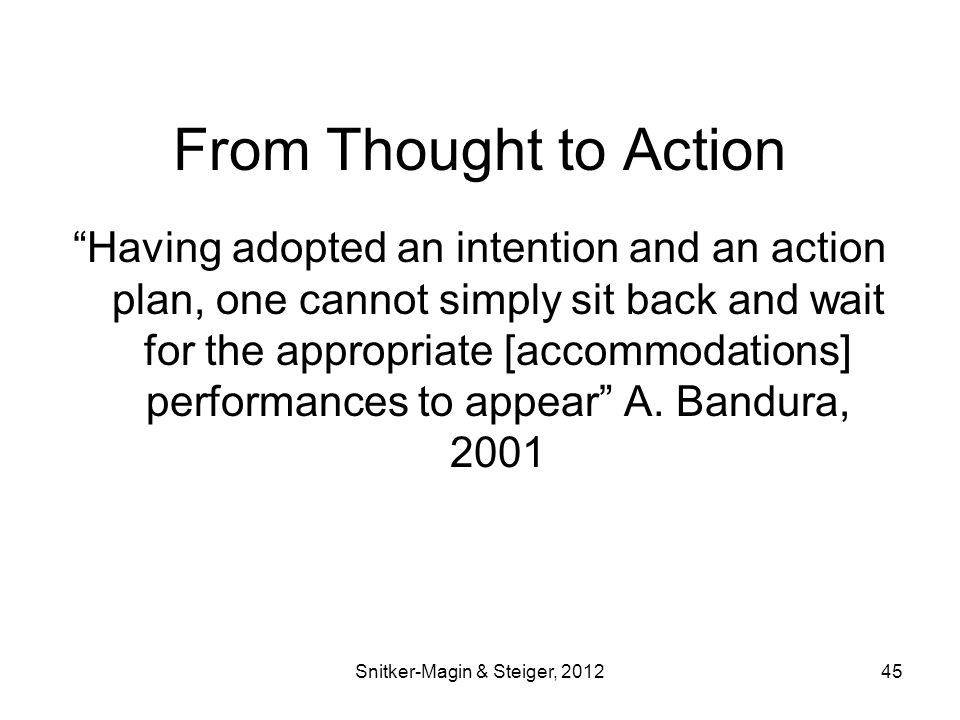 From Thought to Action Having adopted an intention and an action plan, one cannot simply sit back and wait for the appropriate [accommodations] performances to appear A.