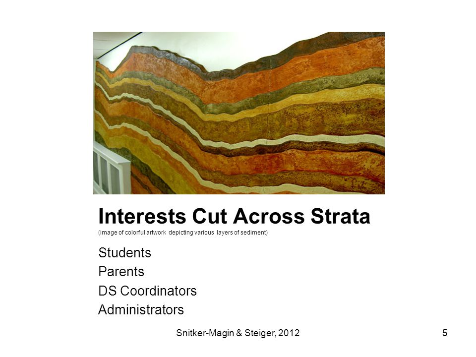 Interests Cut Across Strata (image of colorful artwork depicting various layers of sediment) Students Parents DS Coordinators Administrators Snitker-Magin & Steiger, 20125