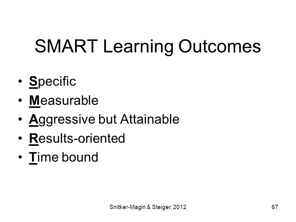 SMART Learning Outcomes Specific Measurable Aggressive but Attainable Results-oriented Time bound Snitker-Magin & Steiger, 201267