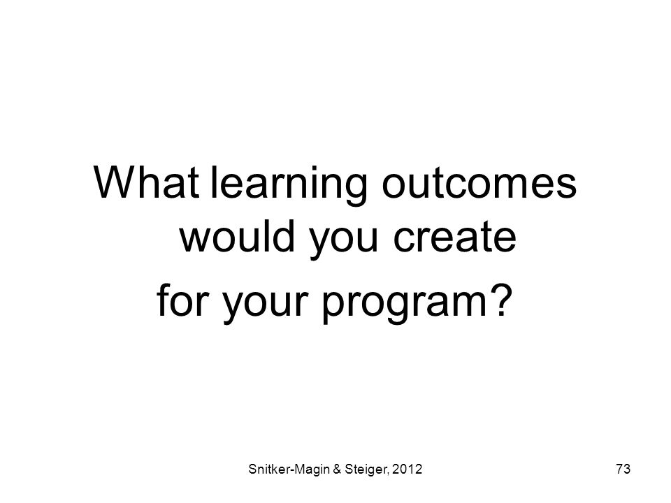 What learning outcomes would you create for your program Snitker-Magin & Steiger, 201273